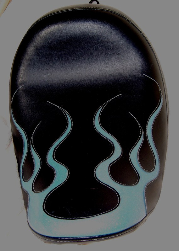 Black Solo Seat Softail Metalflake Inlay