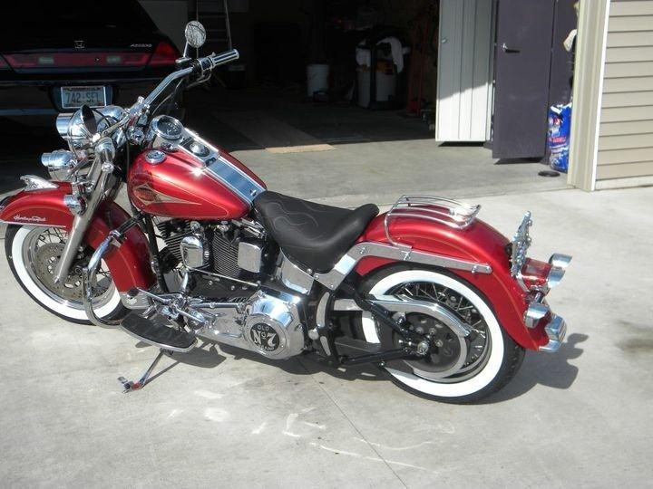 Heritage Softail with Flamed Motorcycle seat
