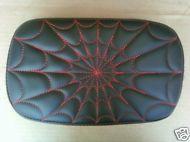 Softail Passenger Pillion Pad Spider Web Red